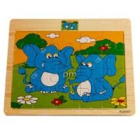 Mainan Edukatif / Edukasi Anak Puzzle Kayu Gambar Gajah Kelinci Katak