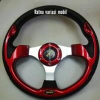 harga stir racing momo merah, stir merah, stir datar, stir 13 inch Tokopedia.com