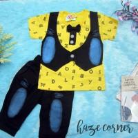 setelan Alphabet jeans anak baju bayi 3 - 15 bulan lucu murah