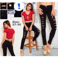 celana soft jeans strech H&M ripped sobek hitam polos 27 28 29 30