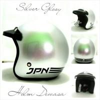 Helm Retro Klasik JPN ARC Silver Glosi Pakai Pet Hitam