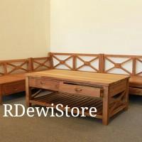 Kursi sofa tamu minimalis kayu jati, kursi modern kayu dengan set meja