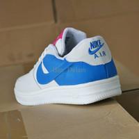 Sepatu Casual Nike Air Force One Putih Biru / sport sneakers wanita