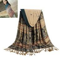 Jual Syal & Pashmina Batik Cetak Hijau Tua Model Klasik /Elegant/ POBEL1145 Murah