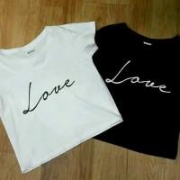 Crop love,simple,kaos lengan panjang,fashion wanita,thisrt,polos,AL