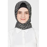 Pasmina Sifon, Pashmina Chiffon, Jilbab Black and White, Saliha Monoch