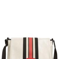 Longchamp Medium Ruban D'or Metallic Canvas Messenger Bag