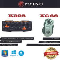 Combo Keyboard Mouse Marvo K328 + XG66 Gaming Garansi Resmi