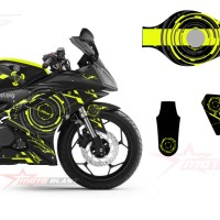 Decal stiker Yamaha R15 Black super hitech yellow