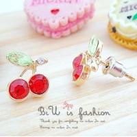 anting korea cherry earrings Korean jewelry red diamond jan055