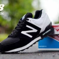 sepatu casual sport pria new balance 574 black white