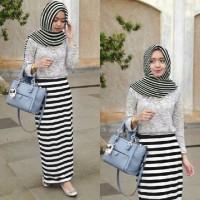 Dini Maxidress Gamis Wanita Murah Rok Salur Cantik Dress Hijab A112
