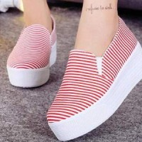 Sepatu Import / Wedges Heels Flatshoes Boot Kets Slip On BL-345 Strip