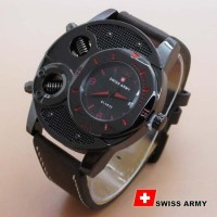 Jam Tangan Pria / Cowo Best Seller Swiss Army Leather Dark Best Seller