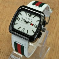 GCL06W Jam Tangan Unisex Gucci Persegi Kulit WHITE Leather GCL06 Wa1