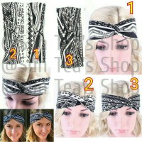 Jual B61 Twisted black and white wide tribal cotton headband Murah