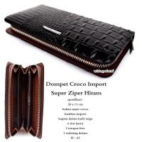 dompet wanita kulit croco impor super ziper black