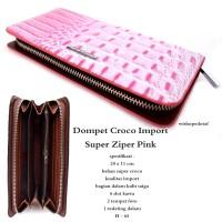 Dompet wanita kulit croco impor super zipper pink