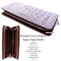 Dompet wanita kulit croco impor super zipper white