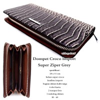 Dompet wanita kulit croco impor super zipper grey
