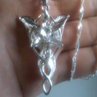 Actress LOTR Arwen Evenstar Silver Girl Necklace Leaf Wing 7 Crystal