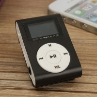 Pod MP3 Player TF Card With Small Clip Silver And LCD Screen - Black