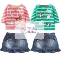 Setelan Kaos + Rok Jeans anak