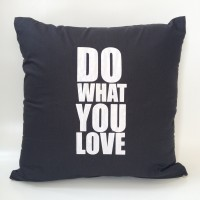 Sarung bantal sofa / Cushion cover - Do what you love (Black)