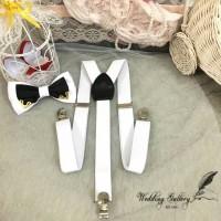Jual paket hemat! suspender bretel putih dan dasi kupu bowtie twotone iron Murah