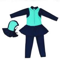 Baju Renang Diving Anak Muslim Swimwear Hijab Hijau Mint Navy Blue MR4