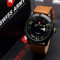 Jam Tangan Murah Pria Swiss Army Original Day Date Leather Brown