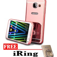 Case For Samsung A3 2016 Slide Bumper Mirror - Rose Gold + Free Iring