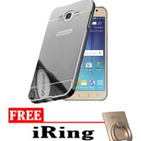 Case For Samsung galaxy J5 Slide Bumper Mirror - Silver + Free Iring