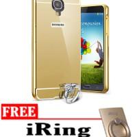 Case For Samsung Galaxy S4 Slide Bumper Mirror - Emas + Free Iring