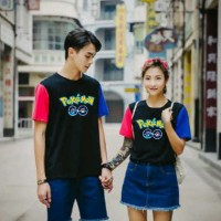 [ cp combi pokego SL] baju couple pokemon warna hitam Murah
