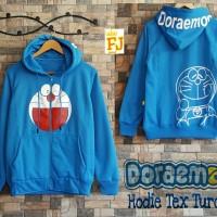 Jual Jaket dan Sweater Wanita Murah Doraemon Hoodie Text Turqis Murah
