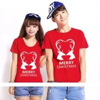 (Harga Sepasang) Baju Kaos Couple Natal CP Christmas Deer Love