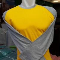 Kaos Raglan Polos Unisex | Kuning Abu Panjang