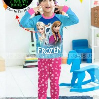 pakaian anak perempuan / js5h baju kaos setelan piyama frozen glow