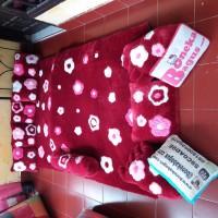 Karpet Motif Bunga Bahan Bulu rasfur Full set