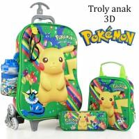 Jual Tas Trolley Anak Pokemon Kaca Mata+Led 3D 5in1 Set Murah