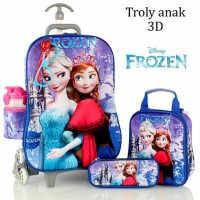 Jual Tas Trolley Anak Frozen Kaca Mata+Led 3D 5in1 Set Murah