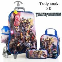 Jual Tas Trolley Anak Transformer Kaca Mata+Led 3D 5in1 Set Murah