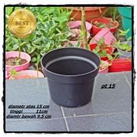 Pot Bunga 15cm Hitam - Toko Pot Tanaman Hias GrosirMurah Plastik 15 cm