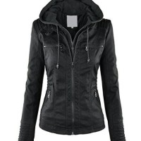jaket hoodie semi kulit wanita