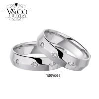Cincin Kawin Fashion cincin tunangan emas palladium berlian WRF0035