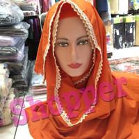jilbab hijab kerudung pashmina ima renda katun polos