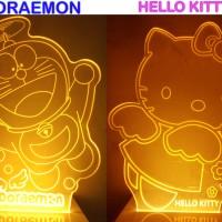 Lampu Tidur Akrilik Hello Kitty & Doraemon Koleksi Barang Unik Hias Ui