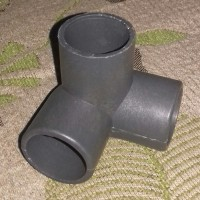 """3 way Sambungan Pipa PVC 1"""" Abu-abu utk Pembuatan Rak Hidroponik, dll"""