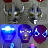 Topeng Lampu Nyala Lamp Led Glow Mask Ultraman Iron Man Spiderman Hulk